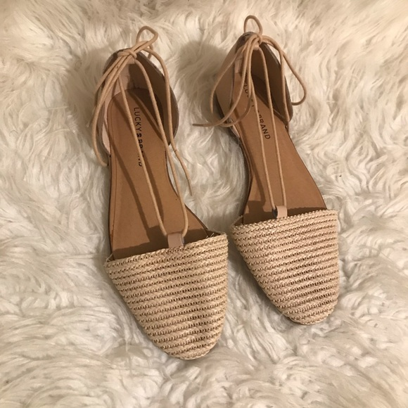 Lucky Brand Shoes - Tan strap up Lucky Brand woven Sandal Size 7.5 🍀